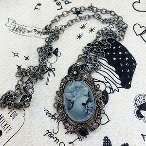 Black and Grey Elegant Cameo Necklace